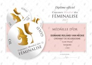 médaille d'Or Féminalise 2017